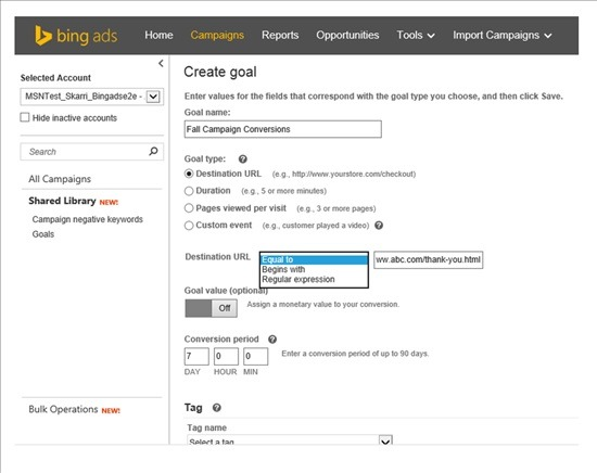 Bing Launch Universal Event Tracking
